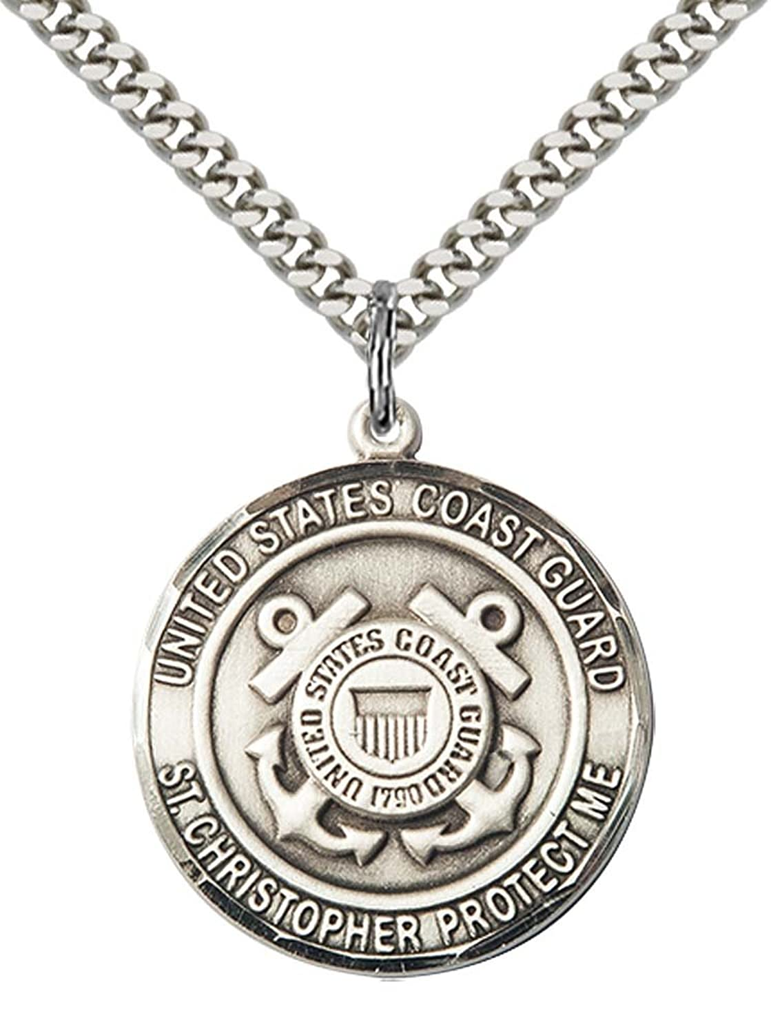 """Sterling Silver COAST GUARD/ST. CHRISTOPHER Pendant with 24"""" Stainless Steel Heavy Curb Chain. Patron Saint of Travelers/Motorists"""