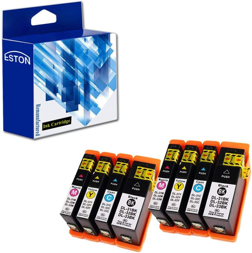 ESTON 8 Pack for Dell Series 31 Black and Series 31 Color Compatible Ink Cartridges for Dell V525w/ V725w All-in-One Wireless Inkjet Printer
