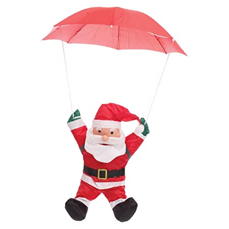 The Christmas Workshop 85550 60 Cm Flying Santa Claus With Parachute Hanging Decoration Red