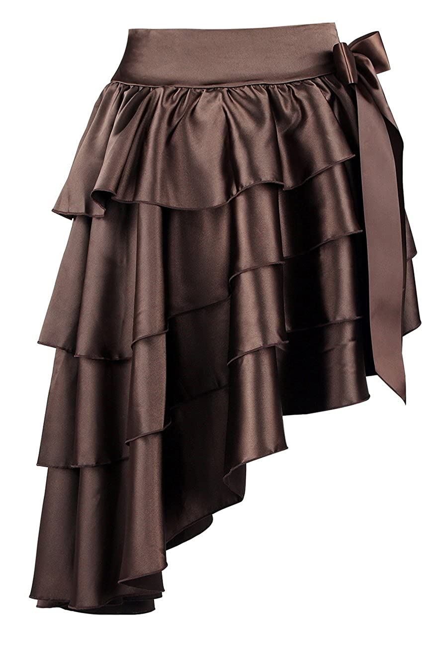 Killreal Women's Burlesque Satin Ruffles High-Low Dancing Party Skirt Zp Fashion ZP0009424