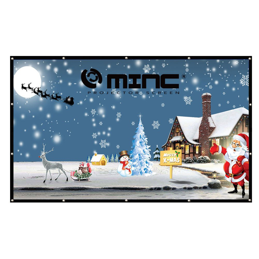 Projector Screen 120 inch 16:9 - MINC Portable Movie Screen HD Projection Screen for Home Indoor Outdoor