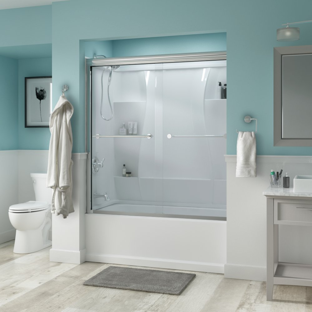 Delta Shower Doors SD3276596 Trinsic 60'' Semi-Frameless Traditional Sliding Bathtub Door in Chrome with Clear Glass