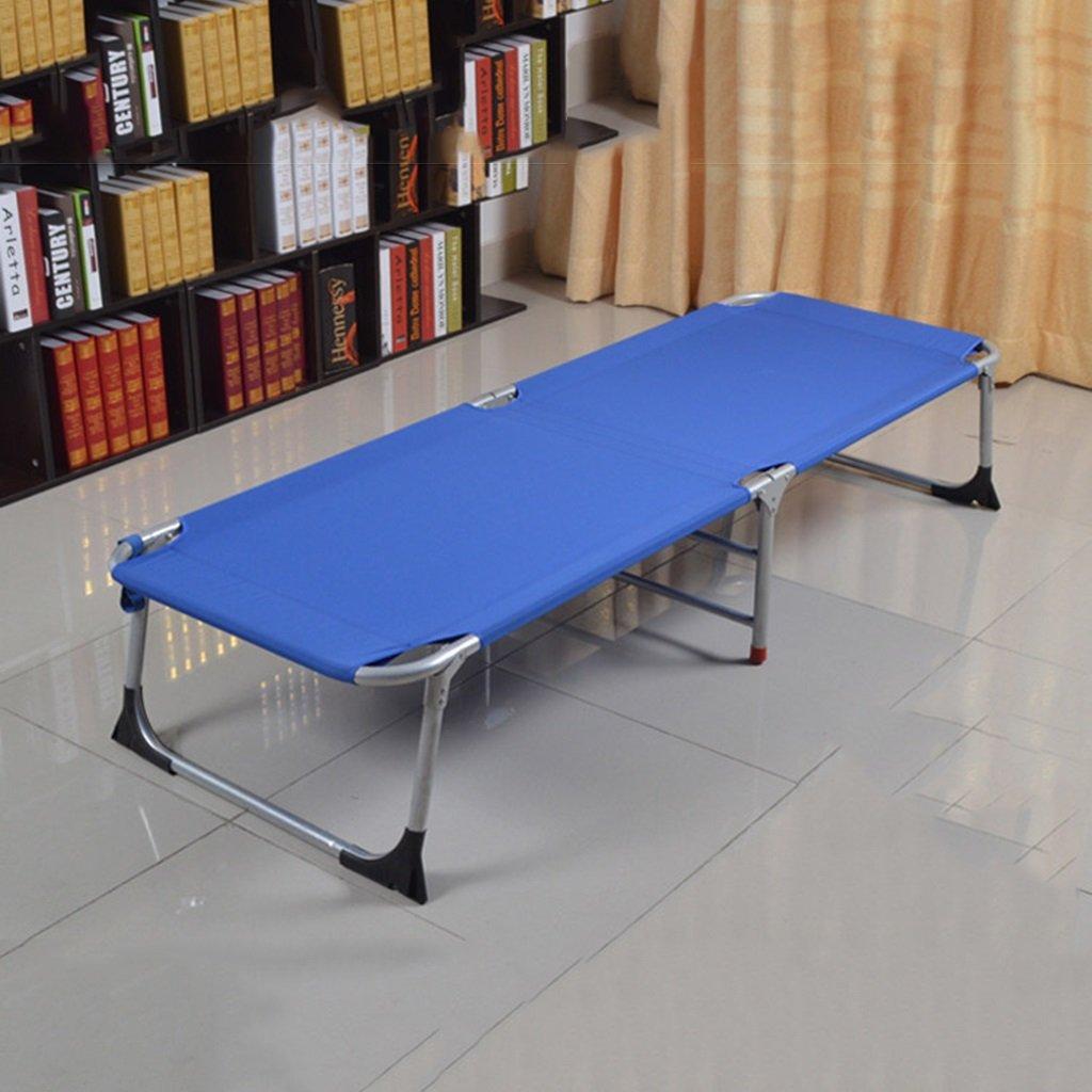Verstärktes Büro Klappbett Einzelbett Siesta Siesta Bett einfaches Tuch Bett Camping Bett begleitendes Bett ( Farbe : Blau )