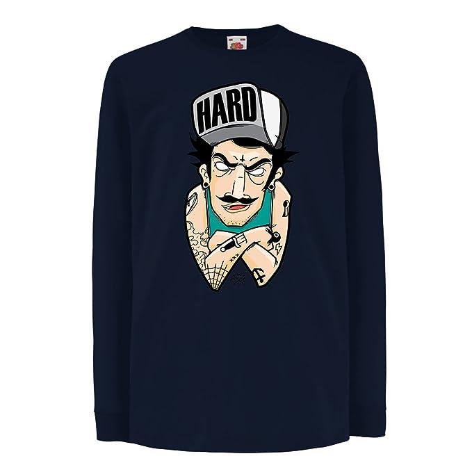 lepni.me Camisetas de Manga Larga Para Niño Difícil – Swag, Tatuajes Góticos Punk