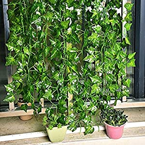 YOUR GIFT Artificial Ivy Green Leaves Vine Fake Ivy Wreaths Wedding Arch/Floral/Indoor Outdoor/Front Porch/Imitation of Green Plants 12 Strands 84 ft 5