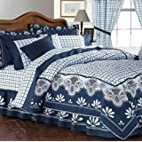 New Andalucia Plaid Blue Comforter Double Sided  amp; Sheet Set Full 9 Pieces Best Quality Good Desi
