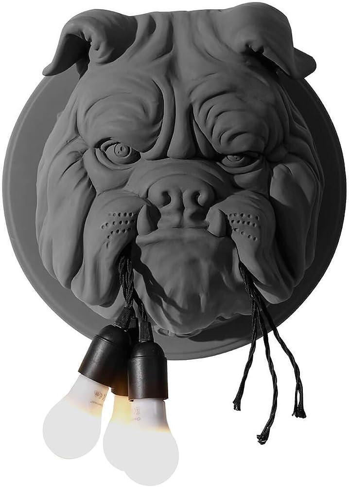 Karman amsterdam lampada da parete bulldog in ceramica grigio opaco AP191BB INT