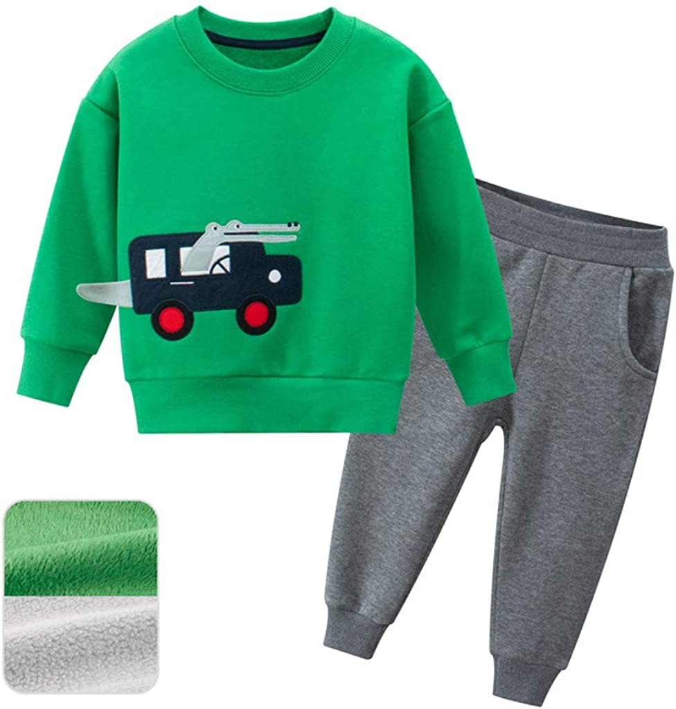 Kids Boys Long Sleeves Sets Urbling Toddler 2 Pieces Cartoon Dinosaur Clothing Sweatshirts and Pants Outfits for 1T-9T
