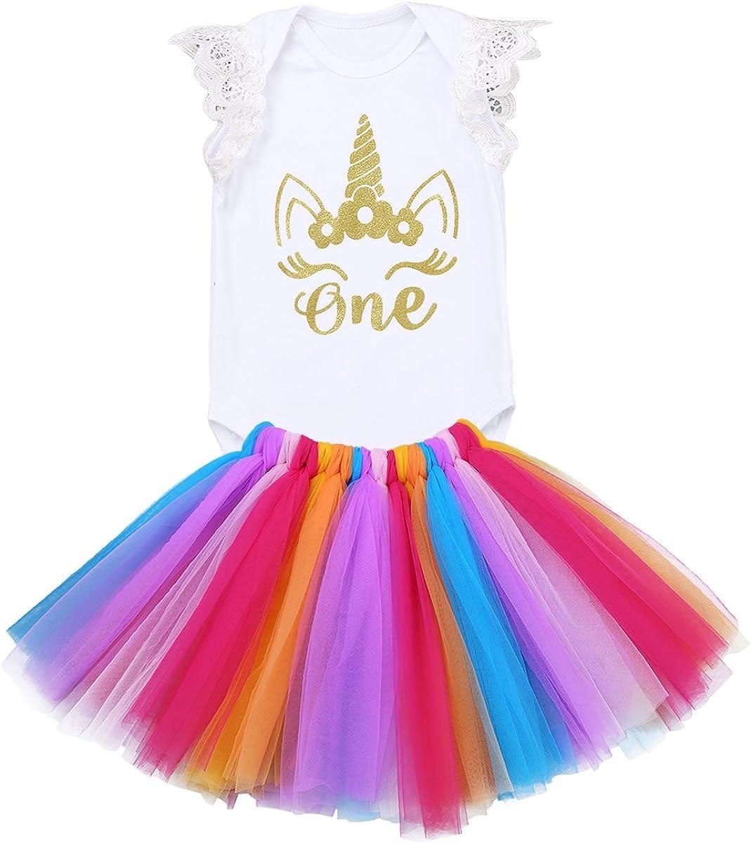 iiniim 3pcs D/éguisement B/éb/é Naissance Fille Imprim/é Licorne Robe de Princesse Bal Arc-en-Ciel Tutu Danse Ballet Et Romper Et Cheveux Bandeau Adorable Costume 0-12 Mois