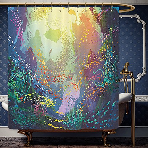 Wanranhome Custom-made shower curtain Sea Animals Decor Set Underwater with Coral Reef and Colorful Fish Aquarium Artistic Art Turquoise Yellow Pink For Bathroom Decoration 60 x 78 - Me Galleria Near