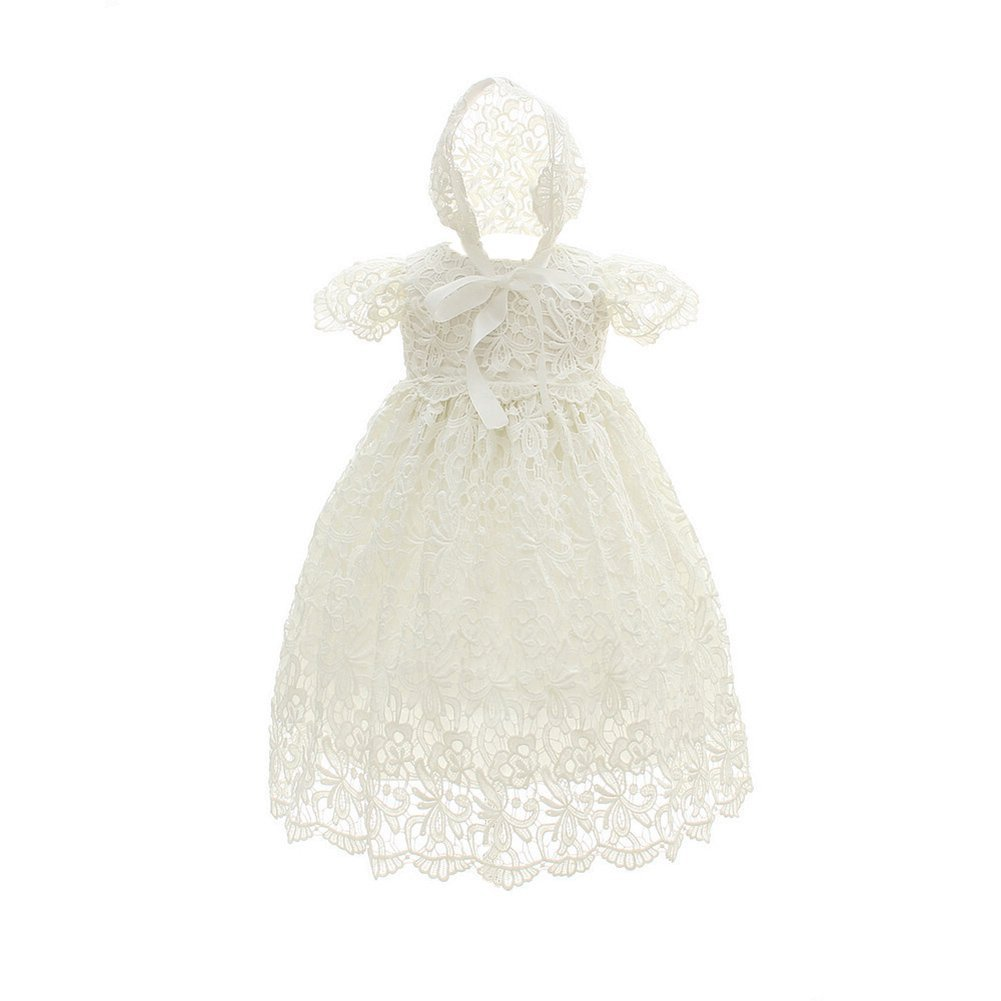 ELINKMALL Baby Girls Tulle Floral Embroidery Christening Baptism Wedding Formal Dress with Hat