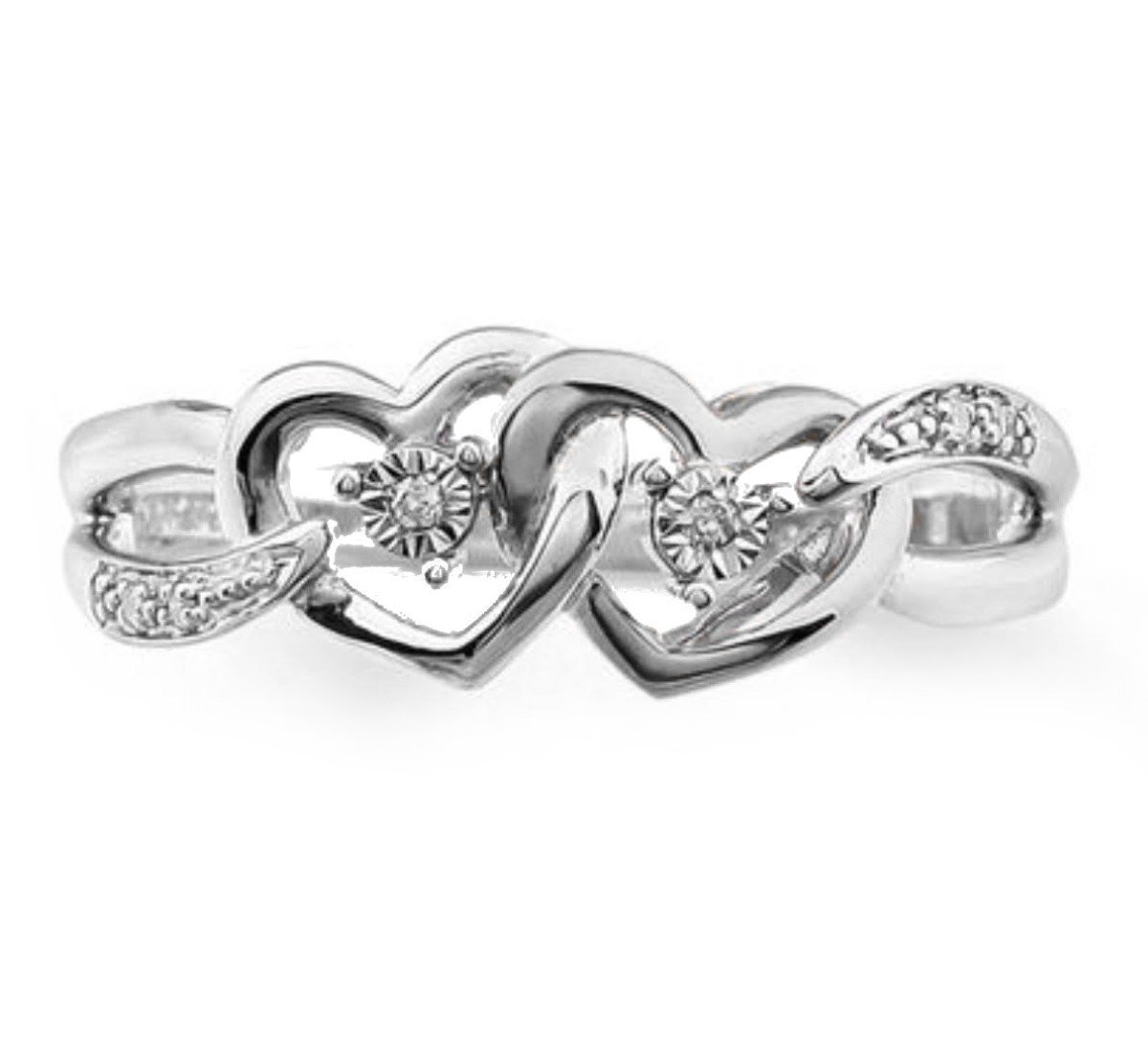 10K White Gold Twin Hearts Ring 0.03ctw Diamond Split Sides Interlocking Heart Promise Engagement Ring