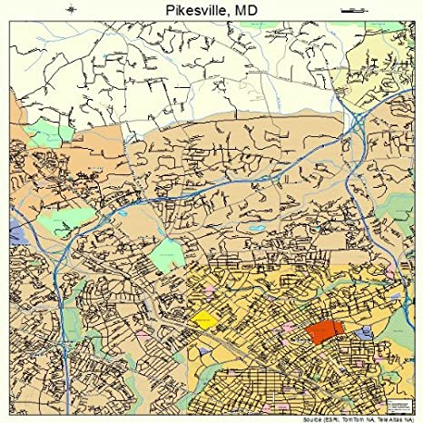 Amazon com: Large Street & Road Map of Pikesville, Maryland