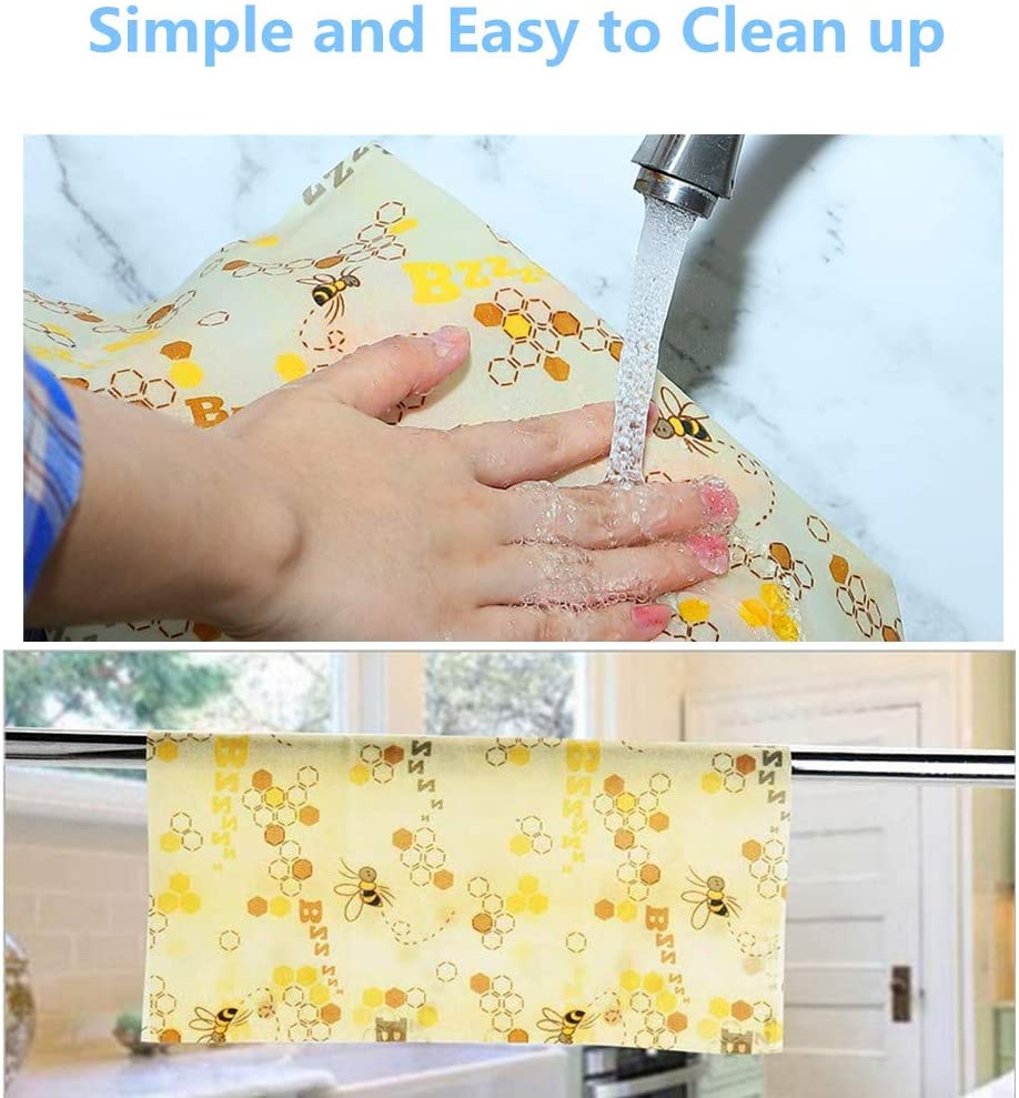 100 x 33 cm Rollo de papel de cera de abeja reutilizable YOWAO Almacenamiento de alimentos ecol/ógico que mantiene los alimentos frescos 33x100cm Bee Pattern