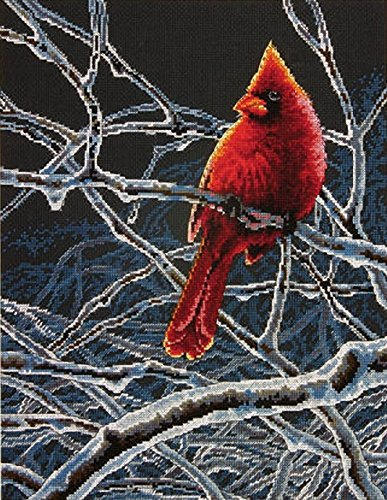 Dimensions Winter Cardinal Counted Cross Stitch Kit, 14 Count Black Aida, 11'' x 14'' ()