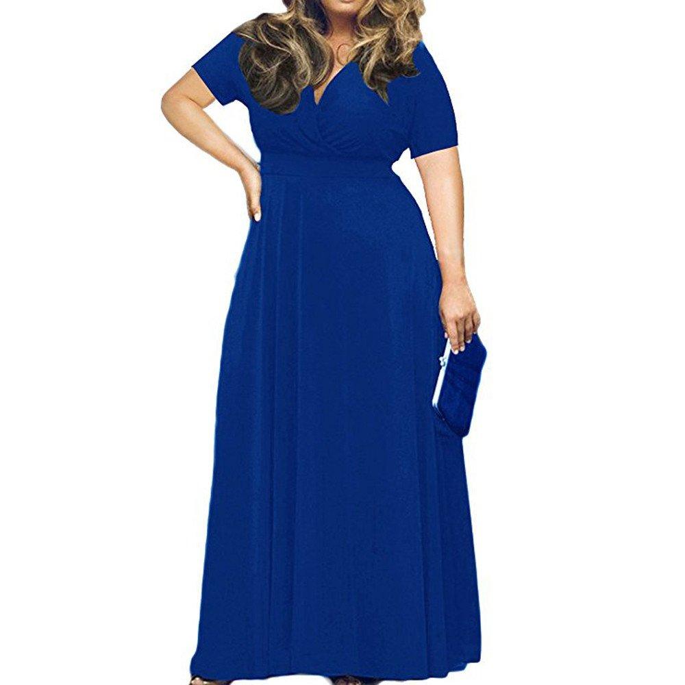 【MOHOLL】 Women Short Sleeve Loose Plain Casual Plus Size Long Maxi Dress Blue