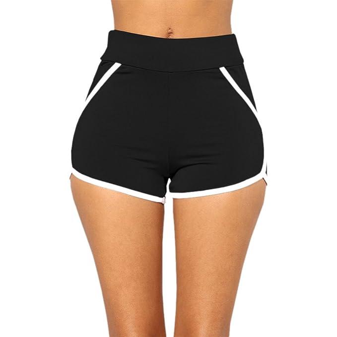 ACEBABY Mujeres Deportes Gimnasio Ejercicio Cintura Flaca Yoga Pantalones Cortos,Pantalones Cortos para Mujer Verano 2019 Casual Pantalones de Vestir ...