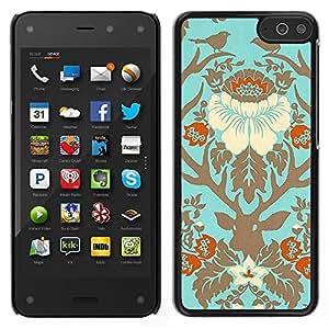 Amazon Fire Phone Único Patrón Plástico Duro Fundas Cover Cubre Hard Case Cover - Birds Floral Spring Deer Gold Leaves