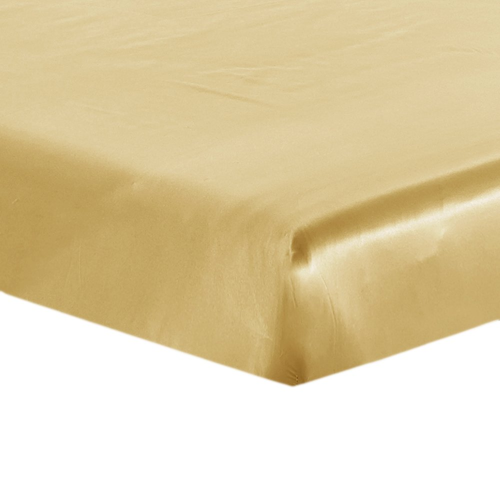 Lilysilk Natural Silk Fitted Sheet Only 19 Momme Seamless, Twin, Gold