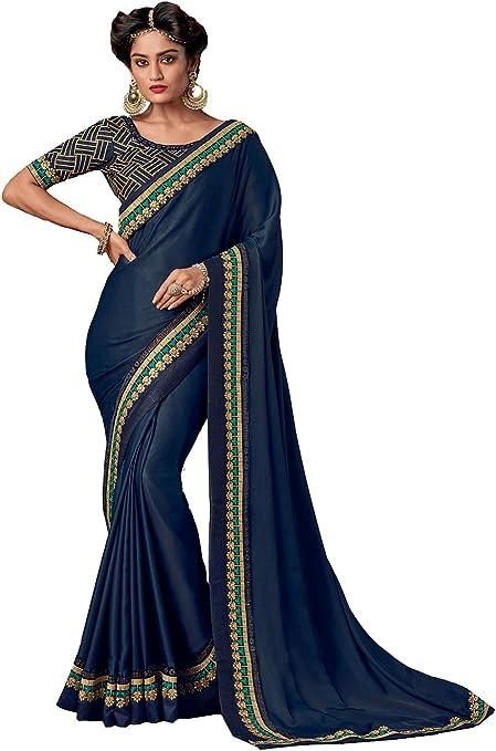 ICW2640-3 Indian Saree for Women Ethnic Sari Light Blue Sari with Unstitched Blouse