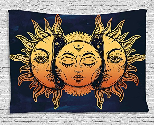 Psychedelic Tapestry by Ambesonne, Moon and Sun with Many Fractal Faces Celestial Energy Mystic Art Print, Wall Hanging for Bedroom Living Room Dorm, 60 W X 40 L Inches, Golden Dark Blue