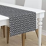 Table Runner - Modern Classic Fresh Diamond Southwest Ikat Chevron by Fable Design - Cotton Sateen Table Runner 16 x 72