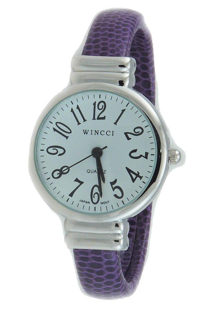 Women's Classic Snake Style Easy Read Bangle cuff Watch-Purple