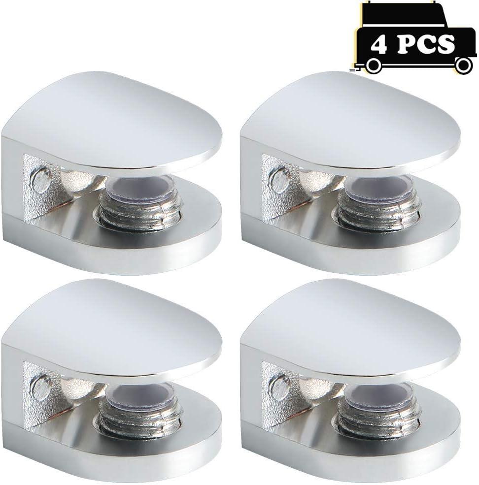 Sayayo EBL1010-4P Lot de 4 charni/ères en verre pour /étag/ère en verre Fixation murale Adaptable 5-8 mm d/épaisseur Verre Acier inoxydable poli