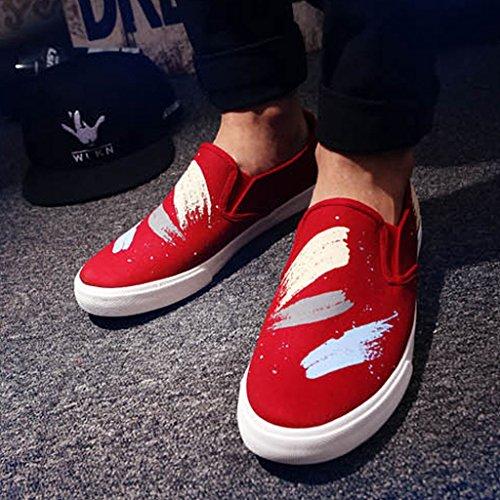 CN42 XIANG coreano SHI pigre 8 Casual tessuto scarpe scarpe LI Pechino EU41 dimensioni da Rosso uomo canvas SHOP 5 shoes di di scarpe tela Bianca UK7 Colore vecchio Graffiti 7pxAwx
