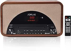 JORLAI Dab + / FM/Am Radio DSP Retro Madera HiFi Incorporado 15 W Altavoz Reproductor de CD Bluetooth USB Reproducir con Reloj Despertador Entrada ...