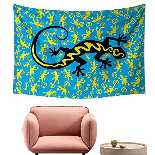- alsohome Pattern Tapestry Tapestry for Girls Aiian Exotic Lizard Dancing with Many Mascots The Ground Fun 60