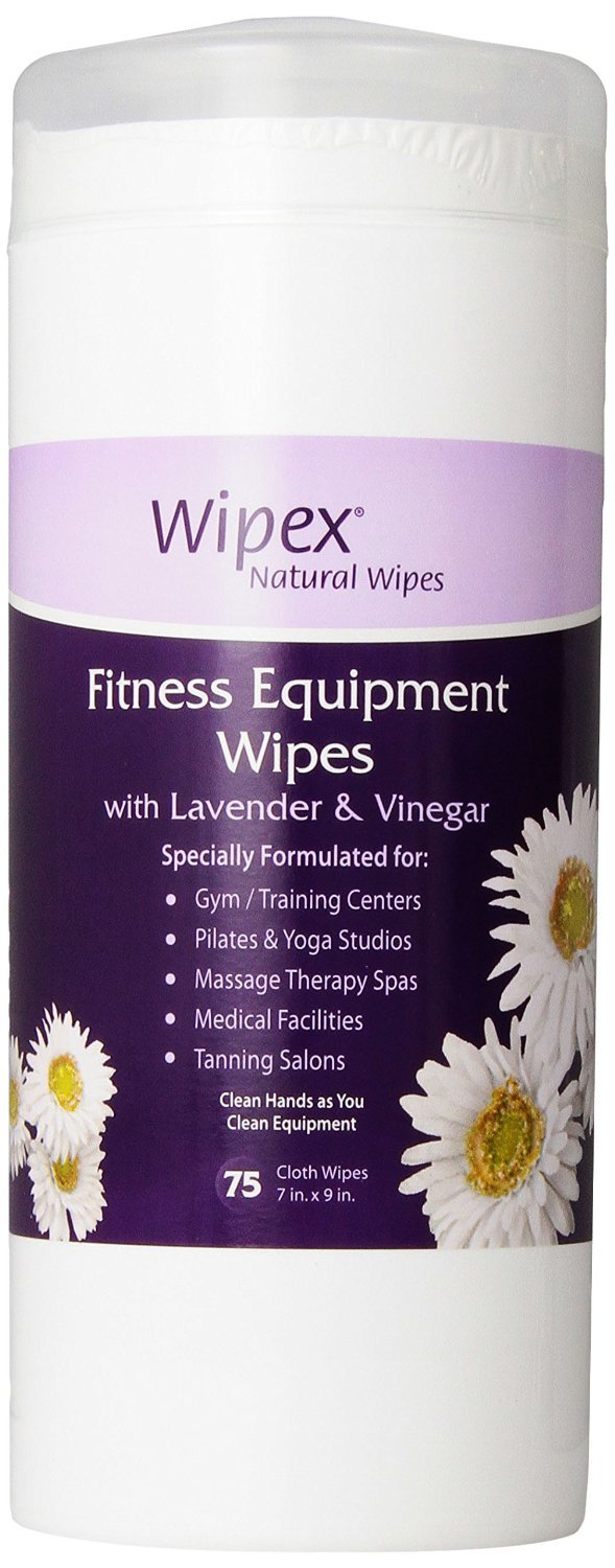 Wipex Natural Gym & Fitness Equipment Wipes for Personal Use, 75 Count - Great for Yoga, Pilates & Dance Studios, Home Gym, Peloton Bike Wipes, Spas, Salons (1 Canister, Old Lavender)