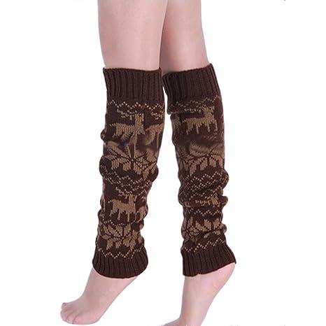 TININNA Medias calcetines,Calentadores de invierno de los ciervos del copo de nieve de punto