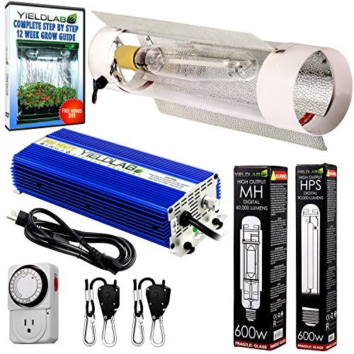 (Yield Lab Horticulture 600w HPS MH Grow Light Cool Tube Reflector Kit - Easy Setup High Output Full Spectrum System For Indoor Plants And Hydroponics - Free Bonus Mechanical Timer )