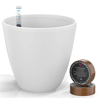 7'' Self Watering Planters for Indoor Plants - Flower Pot with Water Level Indicator for Plants, Grow Tracking Tool - Self Watering Planter Plant Pot - Coco Coir - White Round 1 Pack : Garden & Outdoor