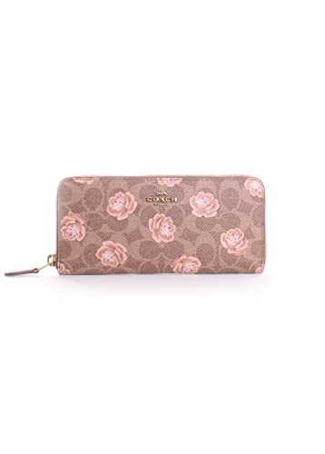 Amazon.com  COACH Women s Accordion Zip Wallet In Signature Rose Print  B4 Tan One Size  Shoes 529b3d0b13