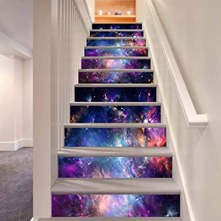 TREES 3D Art Mural Cielo Estrellado Escalera Auto - Adhesivo Pegatinas de Pared Adhesivos Decorativos DIY escaleras Desmontables, Pegatinas de Vinilo 6Pcs 18100 cm: Amazon.es: Hogar