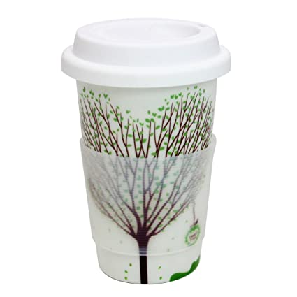 f9bb3984a97 Amazon.com | Momugs Wishing Tree Silicone insulation layer Ceramic Coffee  Mug with White Silicone Lid, 12 oz: Coffee Cups & Mugs