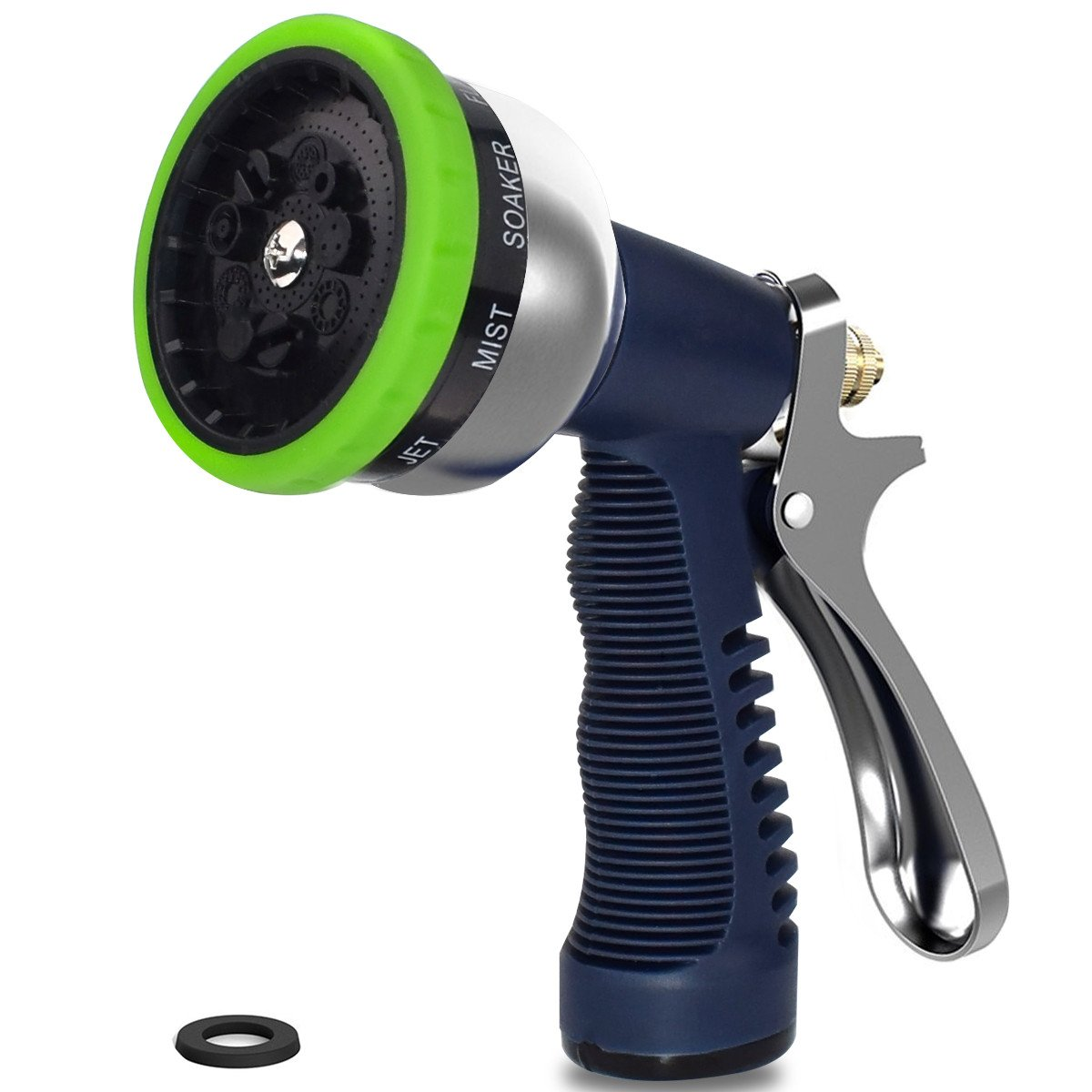 Garden Hose Nozzle Sprayer, Adjustable 9 Watering Patterns Heavy Duty Metal Spray Nozzle for Hand Watering Plants & Lawn, Car Washing, Patio and Pets