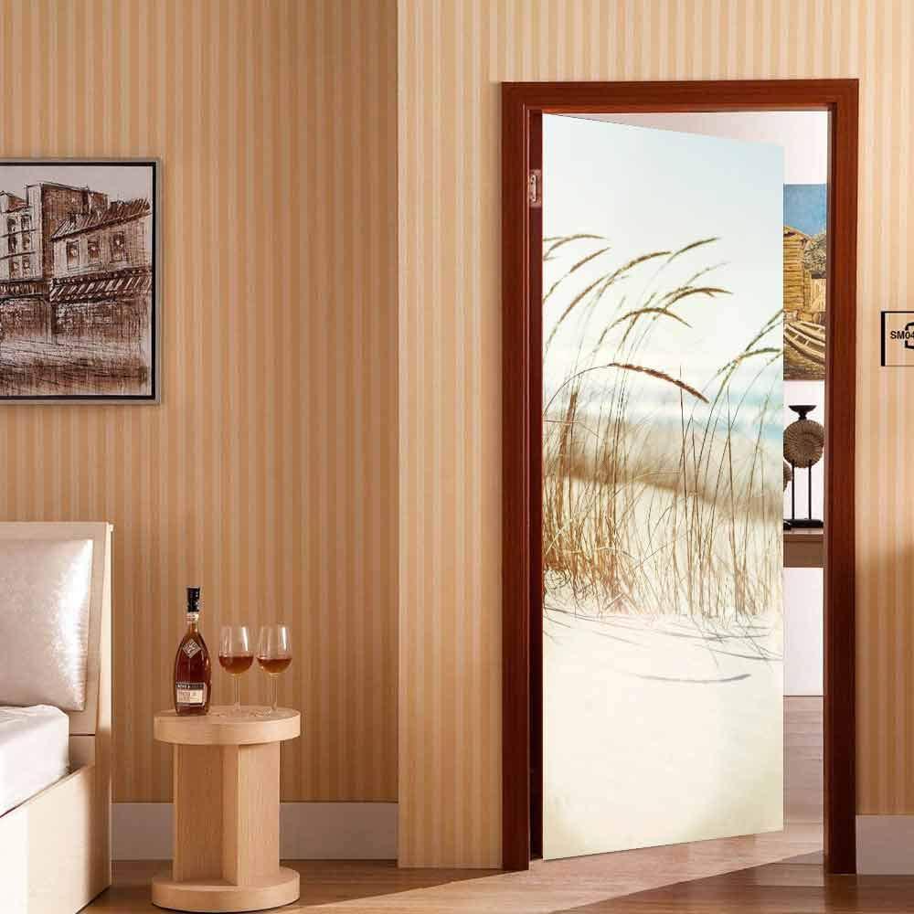 LMYWSX Stickers Porte Vinyle 3D Roseau Imperm/éable Amovible Auto-Adh/ésif Art Affiches Chambre Salon Maison D/écoration 90 200Cm