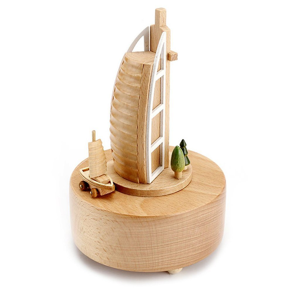 cheerfullus Wooden Music Box Desk Toy Decoration Birthday Present Christmas Gift for Kids (Burj Al Arab Hotel)