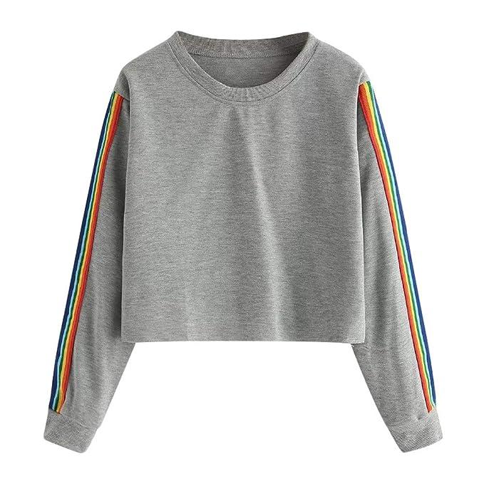 LEEDY Camiseta de Manga Larga con Remiendo en Arco Iris con Remiendo en  Forma 1354c50bfc896