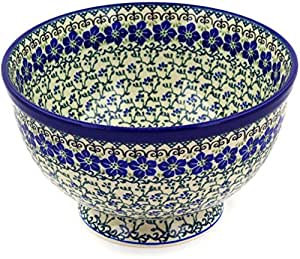 Polish Pottery Bowl 10-inch made by Ceramika Artystyczna (Blue Dogwood Theme)