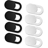 iVoler [8 Unidades] Cubierta Webcam, Webcam Cover Slider Diseño Ultra Fino Camera Cover Tapa Webcam para Todo Tipo de Ordenadores Portátiles, Tabletas y Móviles Inteligentes - (4 Negro + 4 Blanco)