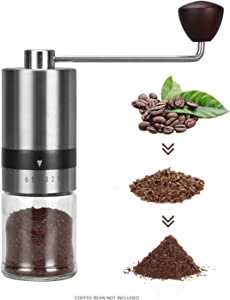 Coffee Grinder Manual (6 Adjustable Setting Stainless Steel Burr Grinder)Hand Coffee Grinder Mill Portable Conical Coffee Bean Grinder for Office,Camping,Travel,Home,Precision Coffee Bean Mill for Espresso,Aeropress, Drip Coffee