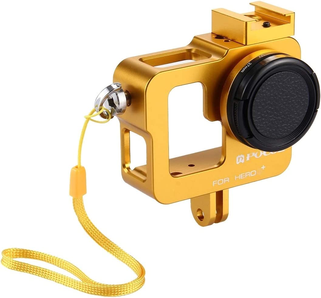 XIAOMIN Housing Shell CNC Aluminum Alloy Protective Cage with 37mm UV Lens Filter /& Lens Cap for GoPro HERO3 //3 Premium Material Color : Gold