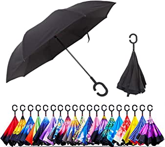 Unisex Inverted Inside Out Umbrella - Material Composition of Pongee Fabrics, Black Electric Ribs & Stainless Steel - Lightweight & Windproof Parasol - Suitable for Wind & Rain, Black (Black) - an