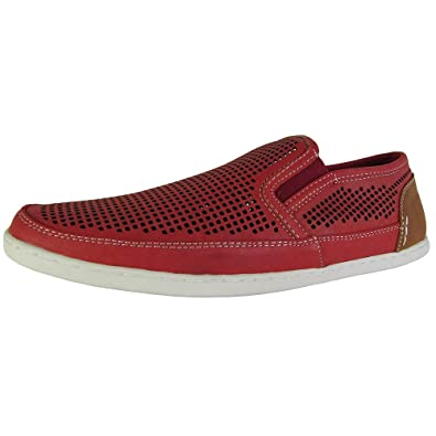 Steve Madden Mens Factionn Perforated Slip on Loafer Shoes, Red, US 7
