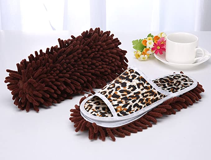 Skyseen Microfiber Leopard Print Mop Cleaning Slippers Dust Cleaner Women Size:6-9.5 Brown Floor Mopping Shoes