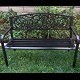 Cheap Belleze 50″ Blossoming Garden Decorative Patio Park Bench, Black